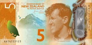 На аверсе пяти долларов Новой Зеландии изображен Сэр Эдмунд Персиваль Хиллари Sir Edmund Percival Hillary новозеландский исследователь и альпинист. Один из двоих людей первовосходителей на Эверест, вместе с шерпом Тенцинг Норгей. - новая зеландия 5 долларов.jpg