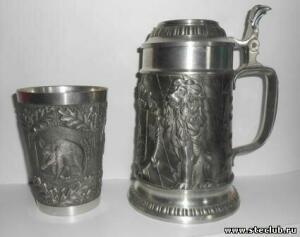 Кружка пивная и бокал Германия олово - 1549714.jpg