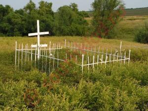 Это место где похоронены жертвы расправы над протестующими в г. Новочеркасске в 60х годах. Далеко их увезли и похорониле на старом кладбище возле брошеной деревни. - б11.jpg