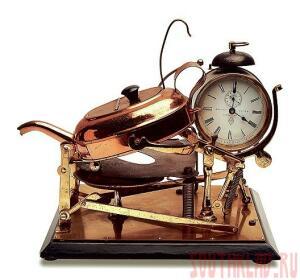 В 1902 году в Бирмингеме был запатентован первый чайник с таймером. Механический будильник срабатывал в назначенное время, и полоса движущейся наждачной бумаги зажигала установленную в таймере спичку. Наждачная бумага приходила в движение от пружины будильника. Далее – от спички загоралась спиртовка. Чайник начинал нагреваться. Когда он закипал, за счет давления пара открывалась специальная заслонка и наклоняла чайник вперед. Кипяток лился в заранее подставленную чашку. Другая заслонка в это время накрывала спиртовку колпачком и тушила огонь. Утренняя чашка чая готова  - 20110708_teapot01.jpg