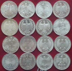 Серебро: 5 марок ФРГ. 20 монет без повторов. - 2.JPG