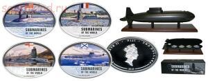 Необычные монеты - Набор монет. Фиджи 2 доллара, 2010 год. Подводные лодки (4 шт..jpg