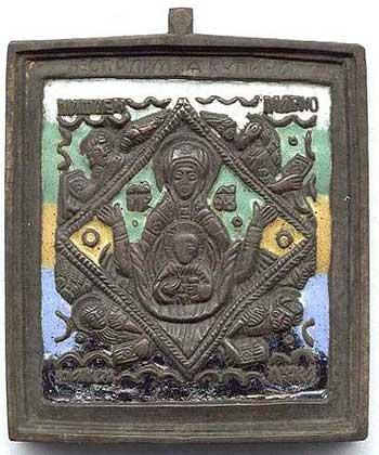 Богоматерь Знамение с символами евангелистов