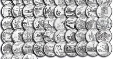 25 центов Штаты и территории США