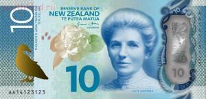 На 10 новозеландских долларах на аверсе изображена Кейт Шепард Kate Sheppard , лидер новозеландского движения за право голоса женщин на выборах суфражистка . - новая зеландия 10 долларов.jpg