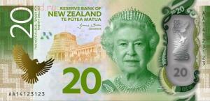 На аверсе двадцати долларов изображена королева Елизавета II Queen Elizabeth II  - новая зеландия 20 долларов.jpg