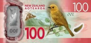 На реверсе желтоголовая мохуа. - новая зеландия 100 долларов..jpg