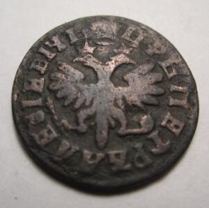 монета Петра I Денга 1712 года - П -1.jpg